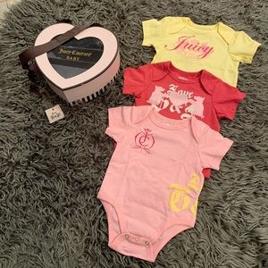 NWT. Juicy Couture Baby | 3 Girl Bodysuits